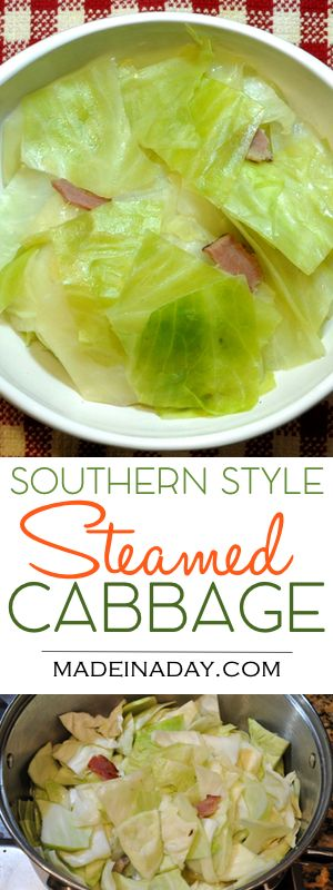 Yummy Southern Style Steamed Cabbage Recipe! Great sidekick to spiral ham! Fork tender cabbage steamed with ham or bacon for flavor. Country style, blue plate side dish,