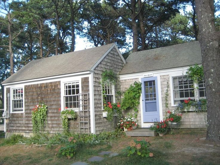Sea Spirit cottage, located in Wellfleet, Cape Cod is nestled by itself among tall pine trees.