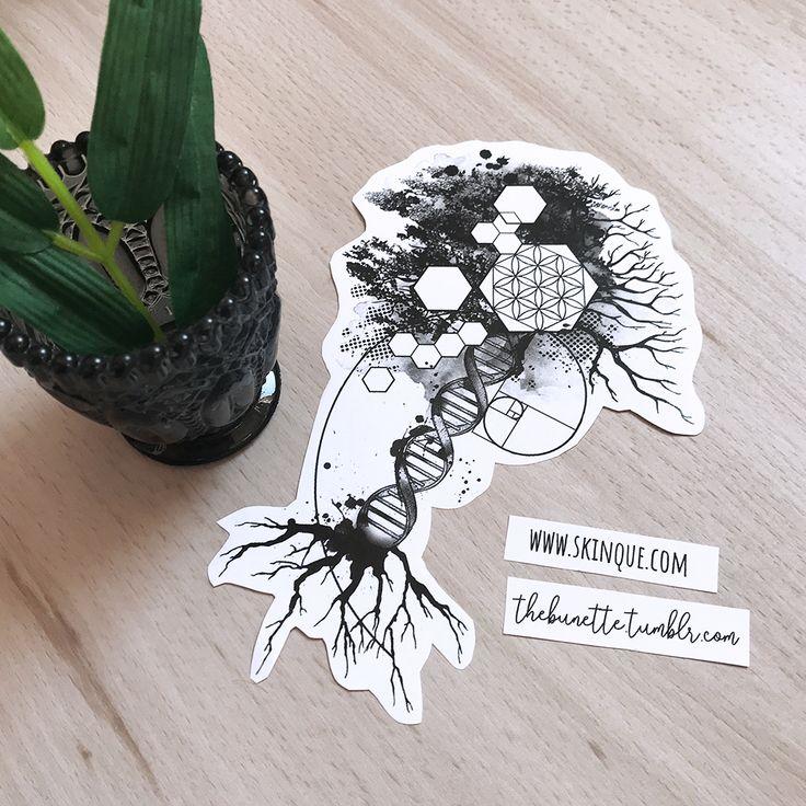 Wissenschaft Fibonacci abstrakte Baum DNA Blume des Lebens Tattoo Illustration Unterarm Oberschenkel Tattoo