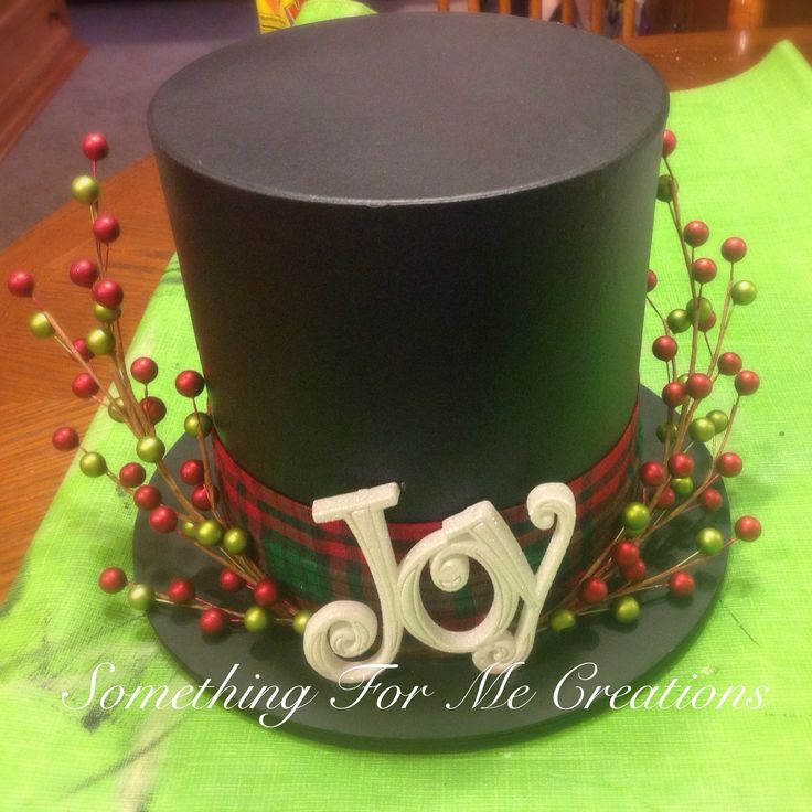 Top Hat Centerpiece Made From An Upside Down Paper Mâché Box And A Chipboard Circle