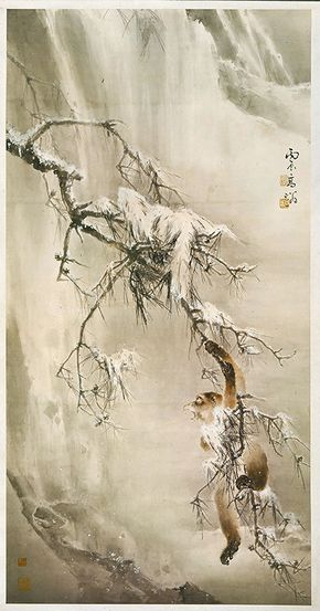 Monkey Playing in the Snow Gao Qifeng (1889-1933), dated 1916 Hanging scroll, ink and colors on paper, 178x92cm Collection of the Lingnan Fine Arts Museum, Academia Sinica 高奇峰 寒猿戲雪 中央研究院嶺南美術館藏 紙本 設色畫 軸 178x92公分 1916年作 Origins & Developments of Lingnan School of Painting 2013/06/01~2013/08/25 National Palace Museum, Taipei