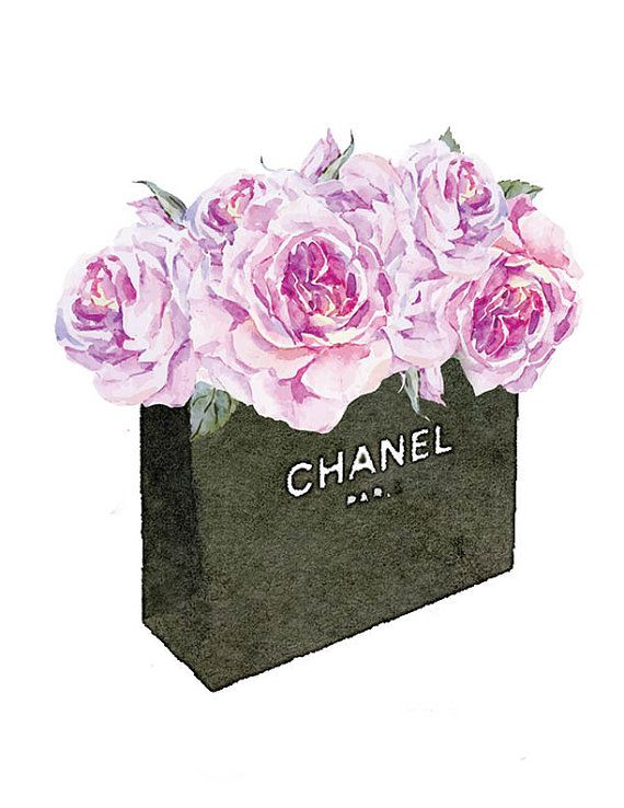 Chanel No5 8x10 inches Roses watercolor watercolour shopping bagPrinted Coco…
