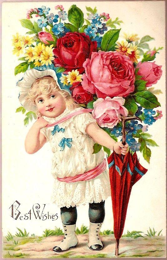 """Victorian Roses...""""Best Wishes""""....antique postcard."""