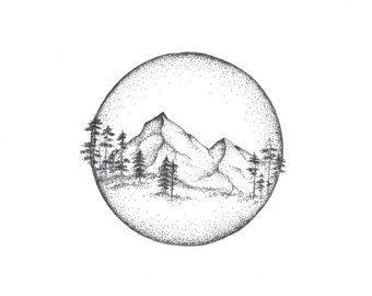 Berge – Kreis – Illustration – Druck – Giclee – Natur – Zeichnung – Feder