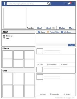 Facebook Template - Introduce Yourself ActivityThis template can be used in different ways! -Introduce Yourself (First Day/Back to School)-Facebook Character Profile