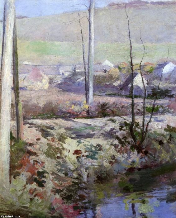 """""""Giverny from the River Epte"""", Oil On Canvas by Theodore Robinson (1852-1896, United States)"""