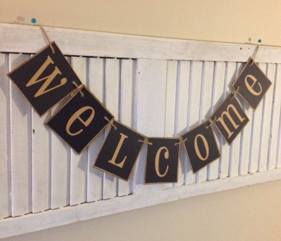 Welcome Banner Sign Bunting Garland Black Tan Can by EncoreBanners