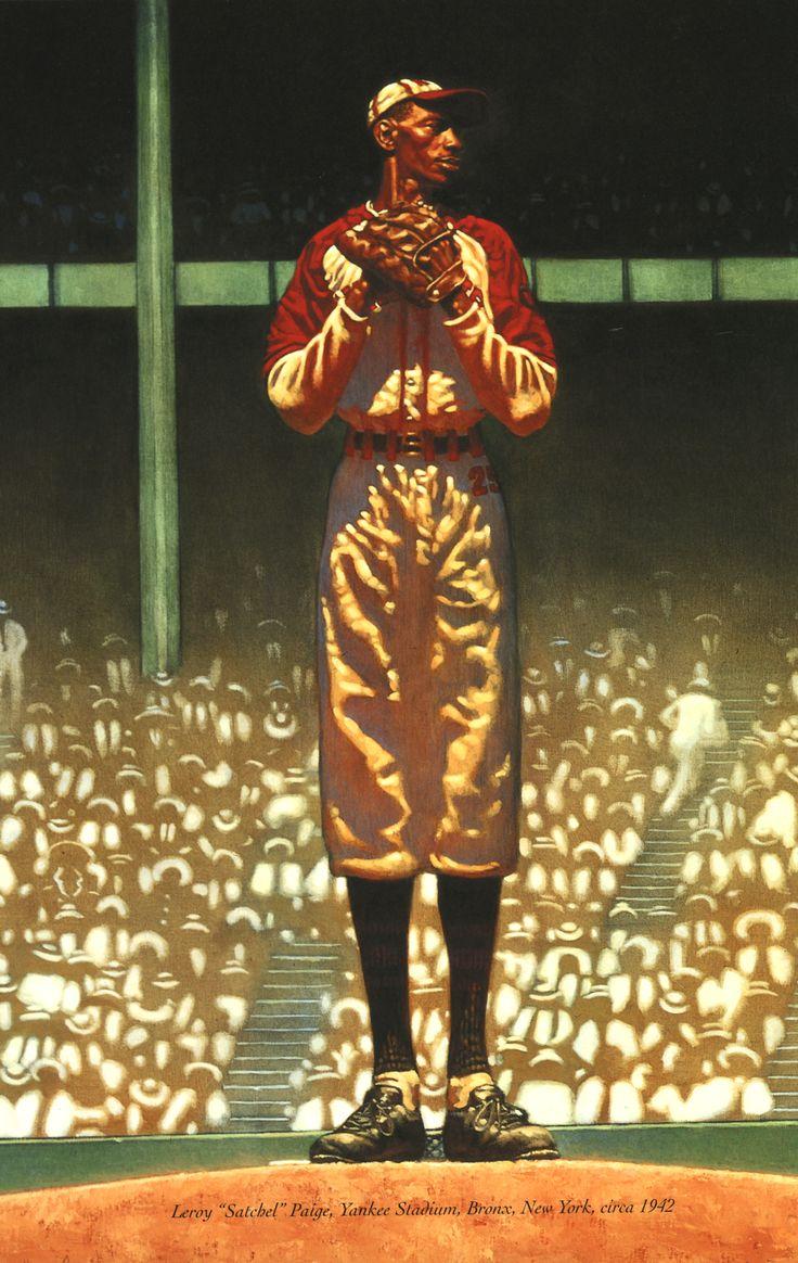 "Kadir Nelson, painting (detail) Leroy ""Satchel"" Paige, Yankee Stadium, Bronx, New York, circa 1942."