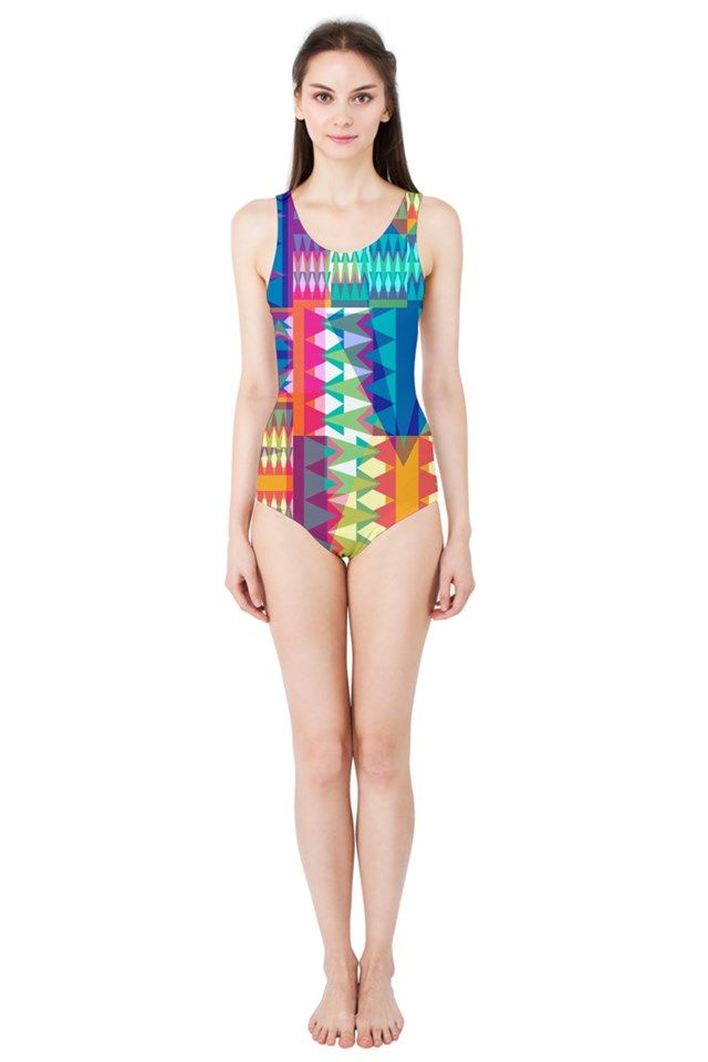 Triangle Quilt_MirandaMol Women's One Piece Swimsuit   #pinkcess #mirandamol #fashion #cool #beachwear #swimsuit #beach #summer #pinkcess #pinkcessfashion #pnkx