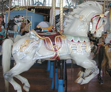 Carousel Horse  http://cityofnewhaven.com/Parks/ParksInformation/carousel.asp    Routine wear and tear caused by the damp bathing suits of seaside riders make frequent paint touch-ups necessary.