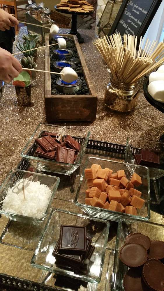 Sparkly s'mores bar party! See more party ideas at CatchMyParty.com!