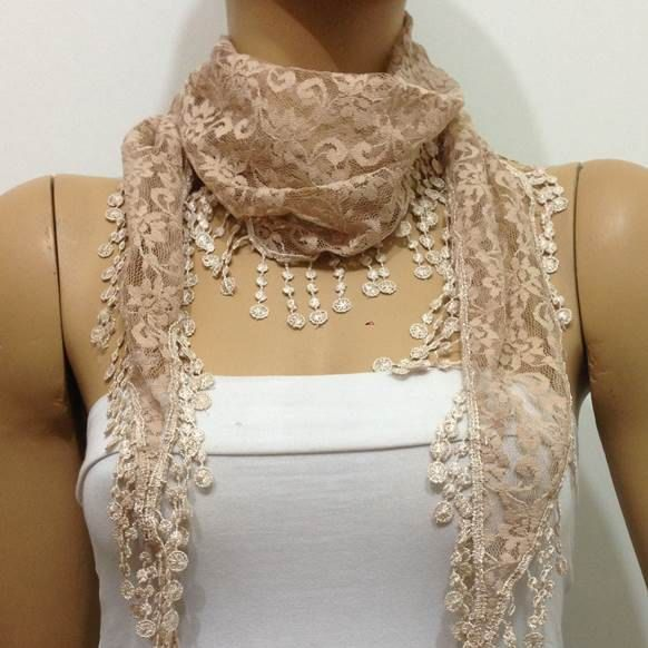 CHAMPAGNE Lace scarf with lace fringe -  Elegant Champagne Scarf by istanbuloya on Etsy