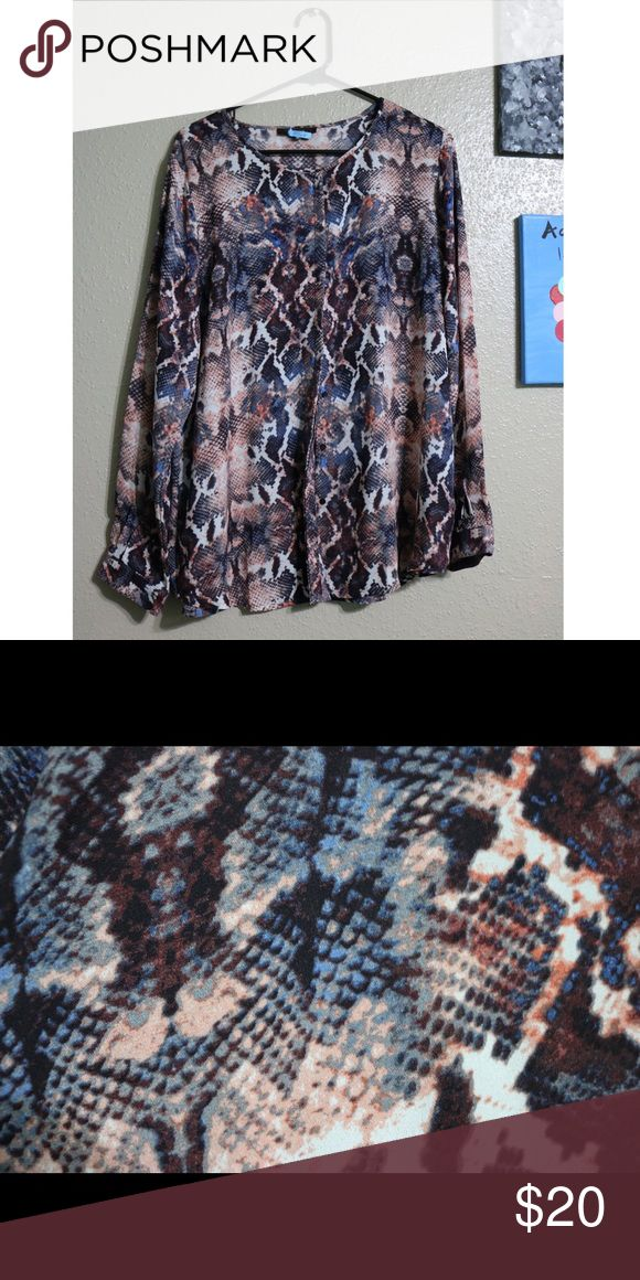 Long sleeve pattern blouse One of my faves. Fits me too big. The pattern is almost like snake skin. Very fresh look and feel. It is a button down blouse. NO FLAWS. Perfect condition. True to size. NO TRADES. •Open to any offers• Tops Blouses