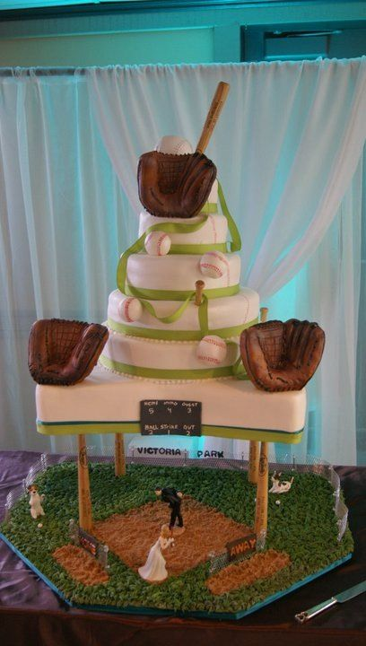 Softball wedding cake.  I dont care what my husband says, I will have this!(: