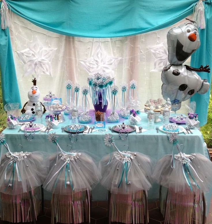 2014 halloween frozen party table disney snowflake diy decors olaf 2014 - Frozen Halloween Decorations