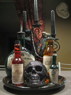 halloween poison bottles drops in the bucket - Homemade Halloween Centerpieces