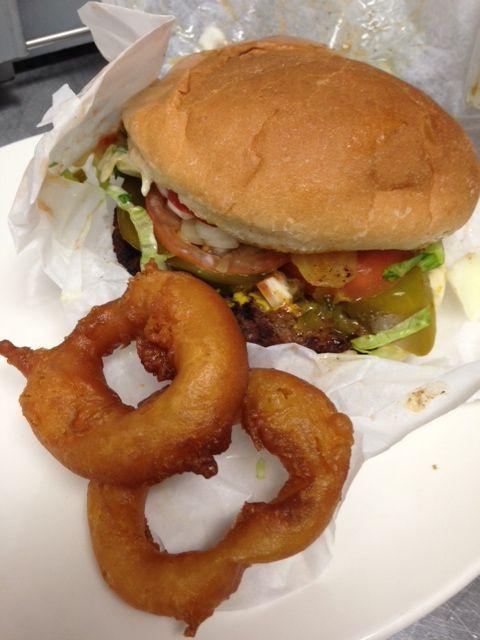 Toronto's Burger Shack...Yonge/ Eglinton area...yummy home-style battered o- rings. Hey hey. Great burgers