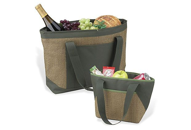 One Kings Lane - Presidents' Day Deals - Eco Large & Small Cooler Tote Set  PICNIC AT ASCOT