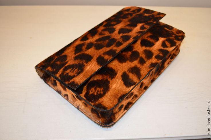 """Купить Клатч """"Леопард"""" - коричневый, звериная расцветка, клатч ручной работы, клатч"""