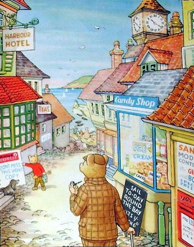 Rupert Bear and his Dad go shopping at the seaside