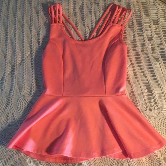 Strappy back peplum top perfect condition, absolutely love the look of this shirt! •FROM CHAROLETTE ROUSE Urban Outfitters Tops