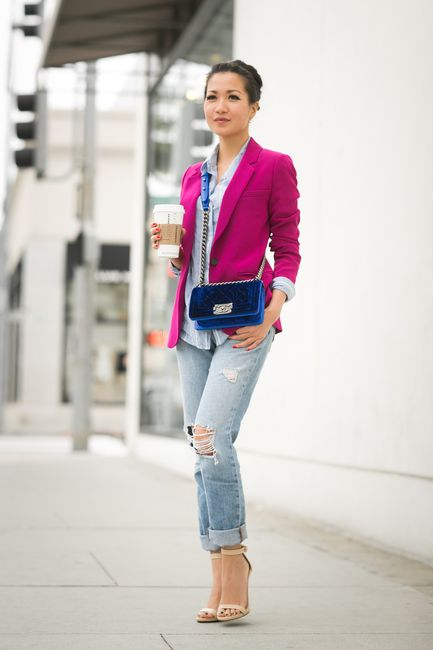 Wendy Nguyen of @Wendy's Lookbook  has a casual Friday in J BRAND's Boy-fit…