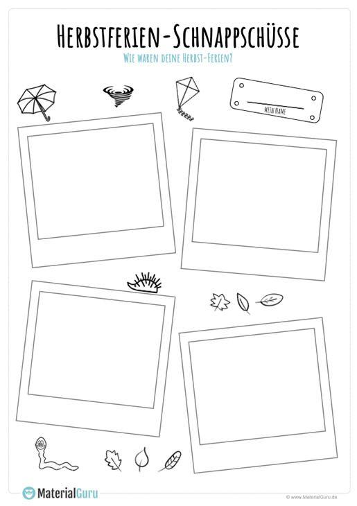 ein kostenloses arbeitsblatt zu den herbstferien auf dem die sch ler bilder von ihren. Black Bedroom Furniture Sets. Home Design Ideas