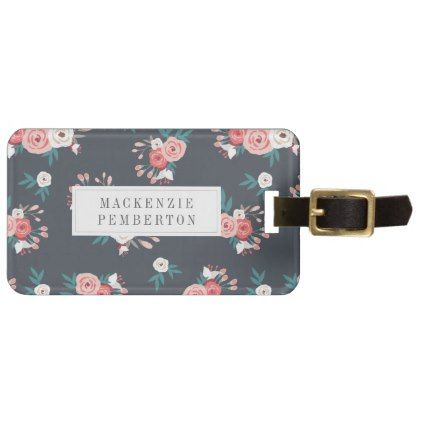 Sophisticated Floral Personalized Luggage Tag - rose style gifts diy customize special roses flowers
