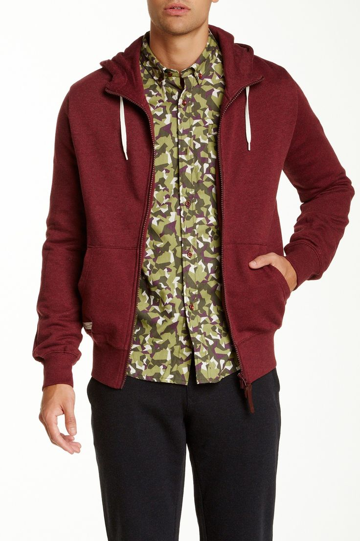 Marshall Artist Zip-Through Hoodie: Burgundy Melange