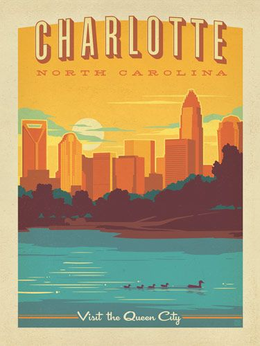 Charlotte, North Carolina - This colorful print of the Charlotte skyline will brighten any home or office wall. Celebrate the Queen City's Southern charm by decorating with this classic design!