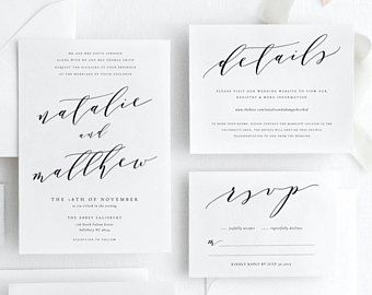 Modern Calligraphy Editable Wedding Invitation Suite Template, Printable Wedding Invitation, Simple Wedding Invitation, Instant Download