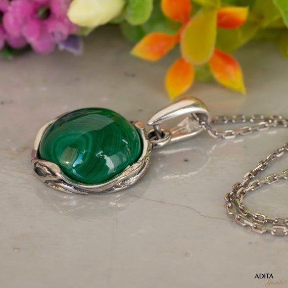 Solid 925 Sterling Silver Genuine Green Malachite Round Stud Earrings Gemstone