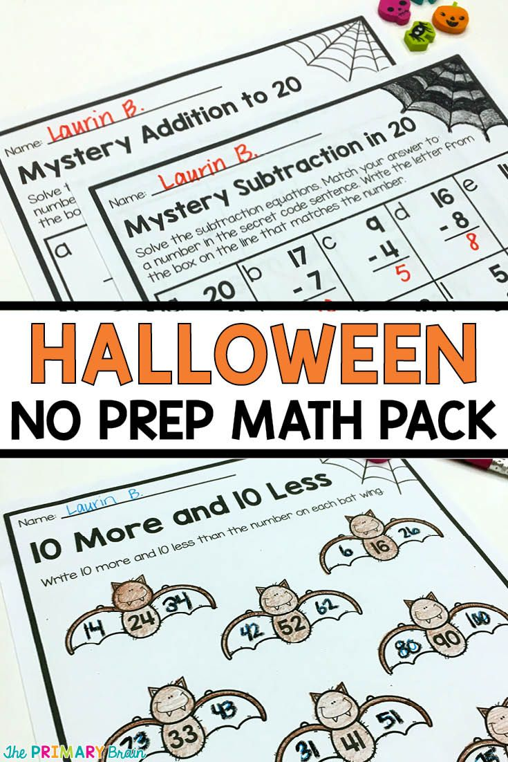 First Grade Halloween Math NO PREP pack including 10 More and 10 Less, Mystery Addition and Subtraction, Missing Addends, Graphing, Number Bonds, and more! Read more about it on my blog theprimarybrain.com #halloween #halloweenmath
