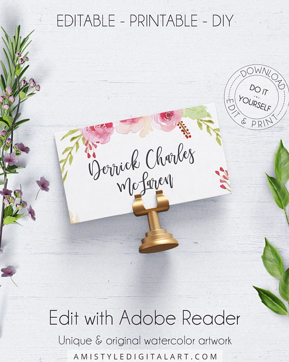 Rose Place Card Template With Lovely And Elegant Watercolor Rrose Wreath Graphics In Place Card Table Wedding Wedding Place Card Templates Place Setting Cards
