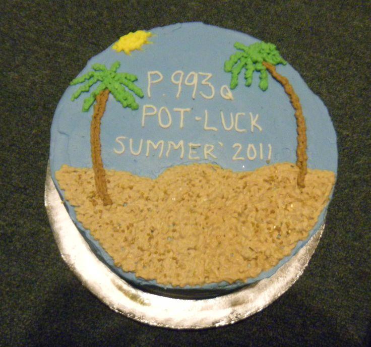 Beach theme tres leches cake with italian meringue