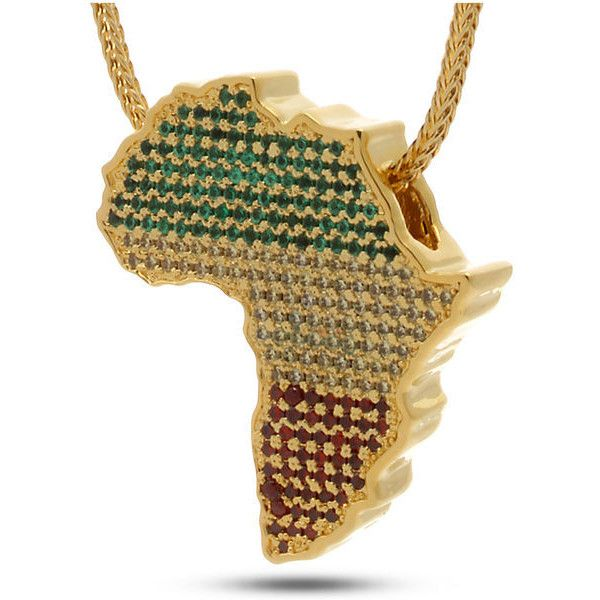 King Ice Jungl Julz 14K Gold Rasta Africa Necklace ($100) ❤ liked on Polyvore featuring men's fashion, men's jewelry, men's necklaces and gold