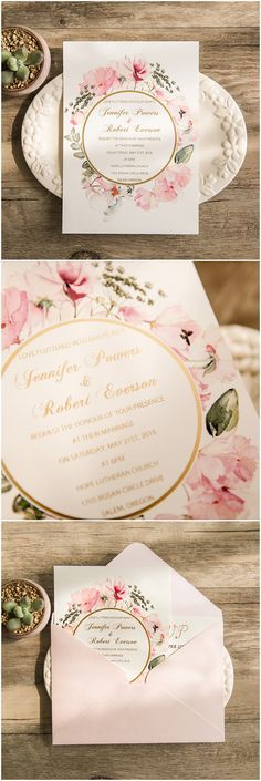 chic vintage pink floral foiled wedding invitations