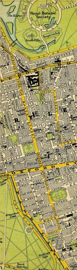 Stanford's Map of Central London 1897, incl. Sherlock Holmes' home at 221B Baker Street