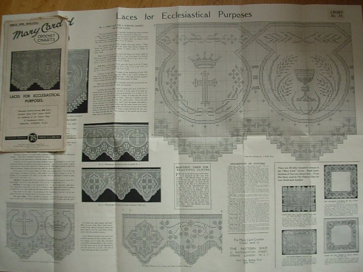 Antique Mary Card Crochet Chart No 78 Laces for Ecclesiastical Purposes   eBay