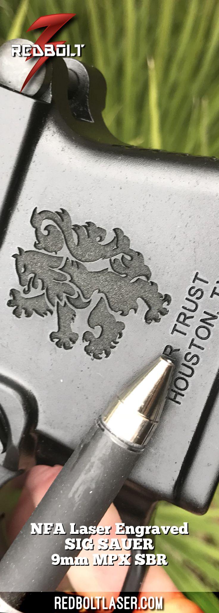 Custom Deep Laser Engraved SIG SAUER 9mm MPX SBR with NFA Trust and Black Lion #redbolt #redboltlaser #guns #sigsauer #sig #pewpew #nfa #sbr