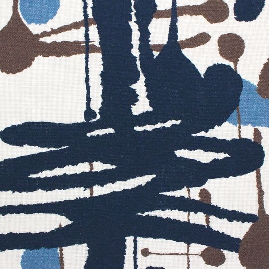 Pensacola Fabric A contemporary curtain fabric with an informal design of paint splashes printed in indigo, blue and chocolate on a white ground.