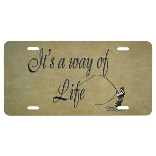 This front license plate is Aluminum but also comes in plastic. It features a fly fisherman silhouette with his fly rod bent, as he's catching a large trout. The text reads 'It's a way of Life' on top of a stone look and natural colored textured background. All fly fishermen and women would agree, if you love fly fishing, it is a way of life. Perfect gift for all fly fishing anglers to proudly display on their vehicles.  #flyfishing