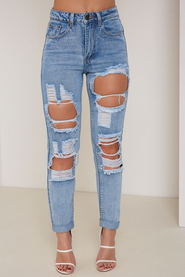 Blue High Waisted Ripped & Distressed Mom Jeans     LASULA