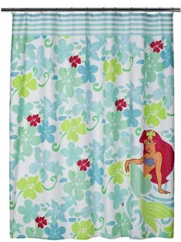 Disney Bathroom Shower Curtain 70x72 Fabric Ariel Little Mermaid Bath New  NIP