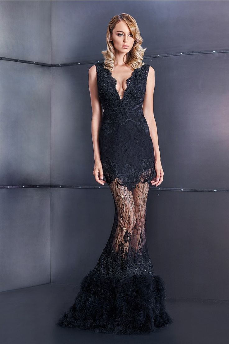 Lace and feather dress