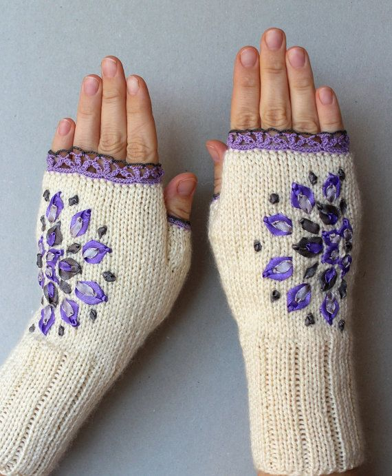 Hand Knitted Fingerless Gloves, Ribbon Embroidery, Women, Accessories, Gloves & Mittens, Ornament, Ivory, Violet,Grey, Cozy
