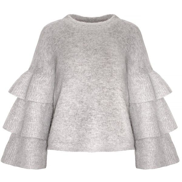 Grey Ruffled Sleeve Sweater ($99) ❤ liked on Polyvore featuring tops, sweaters, tiered ruffle top, boxy tops, boxy sweater, ruffle sleeve top and grey top