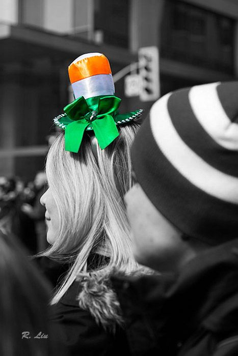 St. Patrick's Day Parade, Toronto, people, black and white with splash of colors. Photo taken and made by Audrey Liu.