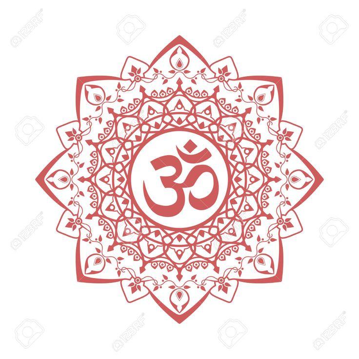 символ ом, Аум знак, с декоративным орнаментом индийской мандалы, изолированных на белом фоне. векторные иллюстрации Клипарты, векторы, и Набор Иллюстраций Без Оплаты Отчислений. Image 43277275.