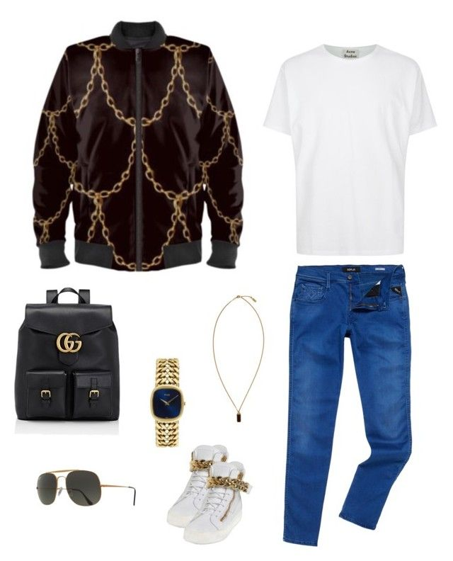 """""""The chains that bind us"""" jacket ootd by guutanii on Polyvore featuring polyvore, Acne Studios, Replay, Giuseppe Zanotti, Ray-Ban, Gucci, A.P.C., Piaget, men's fashion, menswear and clothing"""